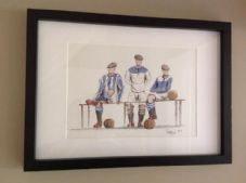 Huddersfield Town - Kits Through The Years - Original Framed A3 Pen & Ink & Watercolour Artwork